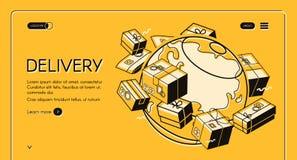 Ligne postale globale d'image tramée de vecteur de distribution du courrier illustration de vecteur