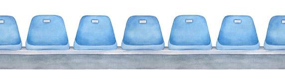 Ligne qu'on peut répéter sans couture des sièges vides bleu-clair sur la plate-forme grise illustration libre de droits
