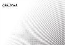 Ligne rayée modèle de courbe de fond abstrait noir et blanc Images stock