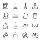 Ligne relative de nettoyage icônes de vecteur Photographie stock libre de droits