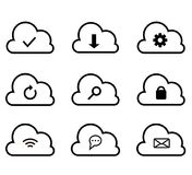 Ligne relative réglée de calcul icônes de vecteur d'icône de nuage Images libres de droits