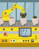 Ligne robotisée de l'ensemble des robots Images stock