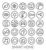 Ligne ronde à la maison futée collection d'icône illustration libre de droits