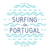 Ligne ronde lettrage de vecteur Surfer au Portugal illustration de vecteur