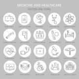 Ligne ronde mince moderne des icônes sur la médecine Photo libre de droits