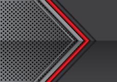 Ligne rouge abstraite flèche grise en métal sur le vecteur futuriste moderne de fond de conception de modèle de maille de cercle illustration de vecteur