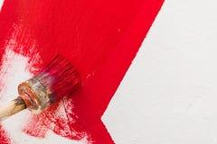 Ligne rouge de peinture Photos stock