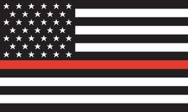 Ligne rouge mince sapeur-pompier Flag Vector Image libre de droits