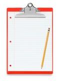 Ligne rouge papier et crayon de presse-papiers photo stock