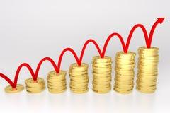 Ligne rouge rebondissant sur le graphique de pièce de monnaie illustration stock