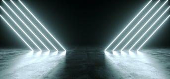 Ligne rougeoyante lumières de néon blanc futuriste de Sci fi dans l'obscurité vide R illustration de vecteur