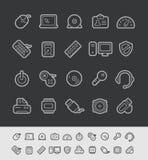 Ligne série de noir de //d'icônes d'ordinateur Image libre de droits
