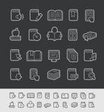 Ligne série de noir de //d'icônes de livre Photos stock