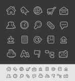 Ligne série de noir de //d'icônes de site Web Photographie stock