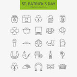 Ligne saint heureux Patrick Day Icons Big Set Photos stock