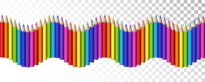 Ligne sans couture de vague des crayons réalistes colorés pour l'école Deco illustration de vecteur