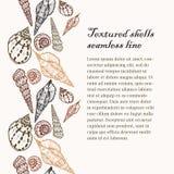 Ligne sans couture fond de coquilles texturisées de griffonnage Image stock