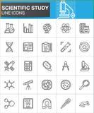Ligne scientifique icônes réglées, collection de symbole de vecteur d'ensemble, paquet linéaire d'étude de pictogramme de style S illustration libre de droits