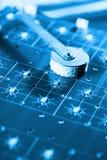 Ligne se réunissante de pointe - bleu Image libre de droits