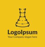 Ligne silhouette de logo de calibre avec le flacon chimique de points sur le fond jaune Image stock