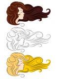 ligne silhuatte de cheveux de fille Photos libres de droits
