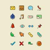 Ligne simple colorée icônes illustration stock