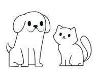 Ligne simple conception d'icône de chiot et de chaton Petite illustration mignonne de vecteur de chien et de chat de bande dessin illustration de vecteur