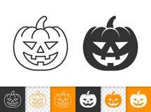 Ligne simple icône de lanterne de Jack O de vecteur de Halloween illustration libre de droits