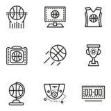 Ligne simple icônes de basket-ball Image libre de droits