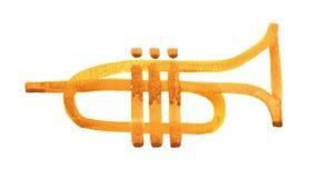 Ligne simple illustration de trompette d'aquarelle d'isolement avec le chemin de coupure illustration libre de droits