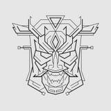 Ligne style d'Oni Mask images libres de droits