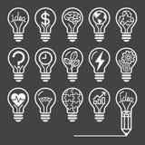 Ligne style de concept d'ampoule d'icônes Photos stock