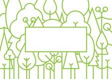 Ligne style mince de forêt verte avec le cadre vide illustration de vecteur