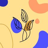 Ligne style minimale en feuille de palmier Un continu paume tropicale de vecteur d'abrégé sur dessin au trait d'isolement sur un  photographie stock libre de droits