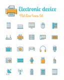 Ligne style plate réglée par icônes d'appareil électronique illustration libre de droits