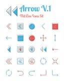 Ligne style plate réglée par icônes de flèche illustration stock