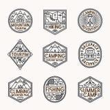 Ligne style réglée de logo de camping Photos stock
