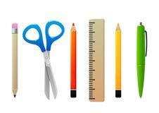 Ligne stylo de crayon de ciseaux pour l'école Photos stock