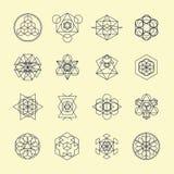 Ligne symboles et éléments de dessin géométrique Photos stock
