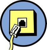 Ligne téléphonique plot et câble Photographie stock libre de droits