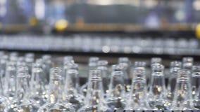 Ligne technologique pour la mise en bouteilles de la bière dans la brasserie Plan rapproché banque de vidéos