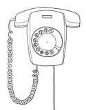 Ligne tirée par la main industrielle de vintage de tenture de téléphone rétro Images libres de droits