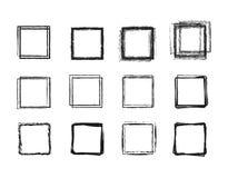 Ligne tirée par la main réglée ensemble de cercle de croquis Griffonnage carré pour l'élément de conception de marque de note de  illustration de vecteur