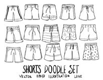 Ligne tirée par la main vecteur de croquis de griffonnage de shorts Photos stock