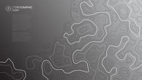 Ligne topographique carte Bannière abstraite de carte topographique avec l'espace de copie illustration stock