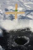 Ligne toujours réglée sur un lac ice noire Photo libre de droits
