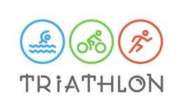 Ligne triathlon de vecteur de logo et chiffres triathletes Photo stock
