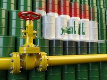 Ligne valve d'oléoduc devant le drapeau de l'Irak sur le barr d'huile illustration de vecteur