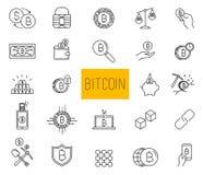 Ligne vecteur Bitcoin de course et icônes de Cryptocurrency illustration de vecteur