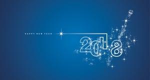 Ligne vecteur bleu blanc de la nouvelle année 2018 de feu d'artifice de conception Image stock